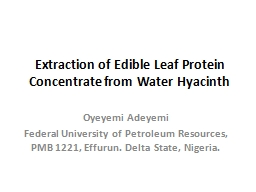 Extraction of Edible Leaf Protein Concentrate from Water Hy