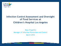 Infection Control Assessment and Oversight of Food Services