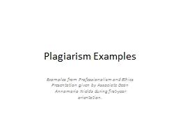 Plagiarism Examples
