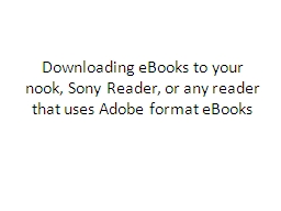Downloading eBooks to your nook, Sony Reader, or any reader