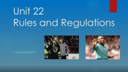 Unit 22: Rules, Regulations & Officiating in Sport