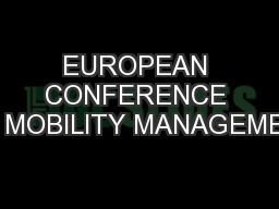 EUROPEAN CONFERENCE ON MOBILITY MANAGEMENT