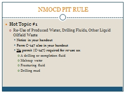 NMOCD PIT RULE PowerPoint PPT Presentation