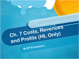 Ch. 7 Costs, Revenues and Profits (HL Only)