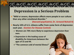 Depression is a Serious Problem PowerPoint PPT Presentation