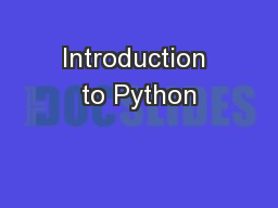 Introduction to Python PowerPoint Presentation, PPT - DocSlides