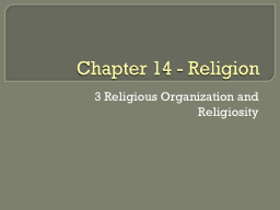 Chapter 14 - Religion