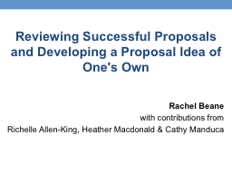 Reviewing Successful Proposals and Developing a Proposal Id