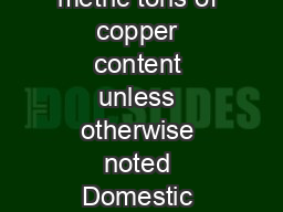 COPPER Data in thousand metric tons of copper content unless otherwise noted Domestic Production and Use U