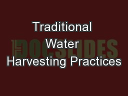 Traditional Water Harvesting Practices