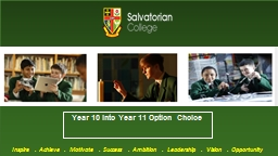 Year 10 into Year 11 Option Choice PowerPoint PPT Presentation