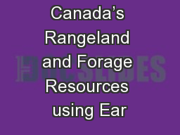 Mapping Canada's Rangeland and Forage Resources using Ear