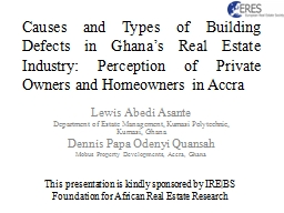 Causes and Types of Building Defects in Ghana's Real Esta