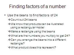 Finding factors of a number PowerPoint PPT Presentation