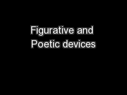 Figurative and Poetic devices