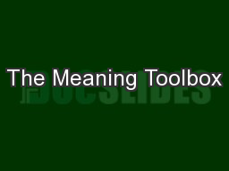 The Meaning Toolbox PowerPoint PPT Presentation