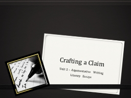 Crafting a