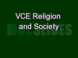 VCE Religion and Society