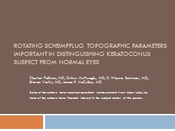 Rotating Scheimpflug Topographic Parameters Important in Di PowerPoint PPT Presentation