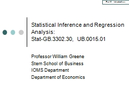 Statistical Inference and Regression Analysis: PowerPoint PPT Presentation