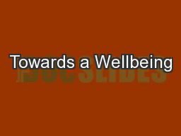Towards a Wellbeing