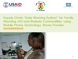 """Supply Chain """"Early Warning System"""" for Family Planning"""