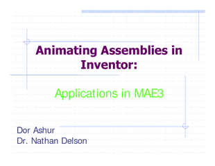 Animating assemblies in inventor