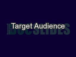 Target Audience PowerPoint PPT Presentation