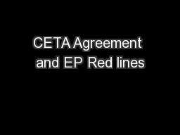 CETA Agreement and EP Red lines