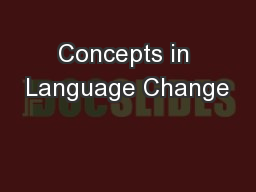 Concepts in Language Change