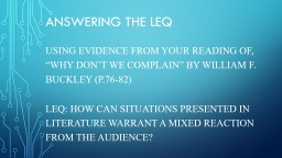 Answering the LEQ