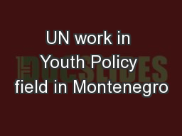 UN work in Youth Policy field in Montenegro