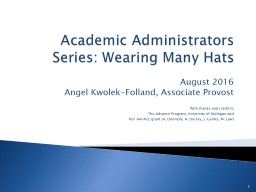 Academic Administrators Series: Wearing Many Hats PowerPoint PPT Presentation