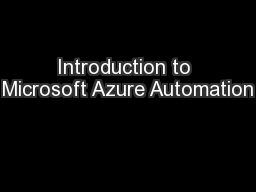 Introduction to Microsoft Azure Automation