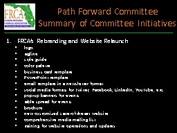 Path Forward Committee PowerPoint PPT Presentation