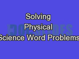 Solving Physical Science Word Problems: