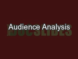 Audience Analysis PowerPoint PPT Presentation