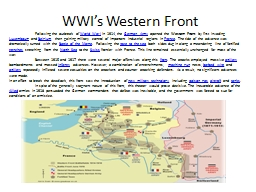 WWI's Western Front PowerPoint PPT Presentation