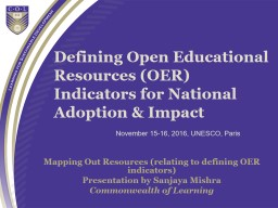 Defining Open Educational Resources (OER) Indicators for Na