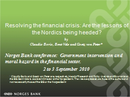 Resolving the financial crisis: Are the lessons of the Nord