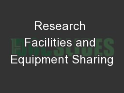 Research Facilities and Equipment Sharing