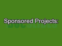 Sponsored Projects: