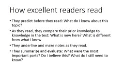 How excellent readers read PowerPoint PPT Presentation