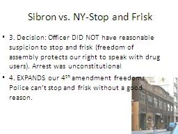 Sibron vs. NY-Stop and Frisk