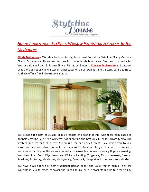 Home Improvements Offers Window Furnishing Solutions to the Melbourne
