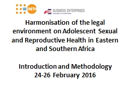 Harmonisation of the legal environment on Adolescent Sexual