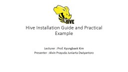Hive Installation Guide and Practical Example