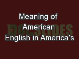 Meaning of American English in America's