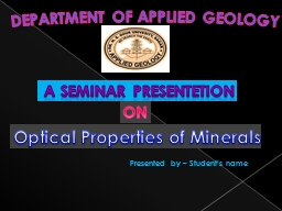 DEPARTMENT OF APPLIED GEOLOGY