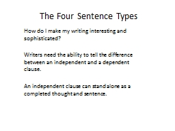 The Four Sentence Types PowerPoint PPT Presentation